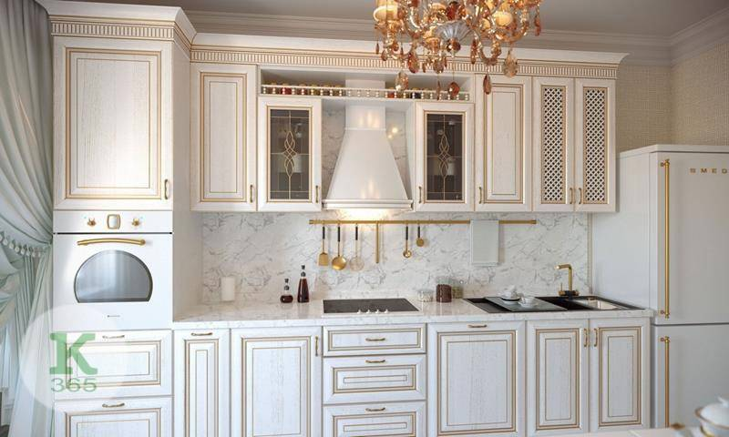 Кухня белая с золотом Ташкент артикул: 167621